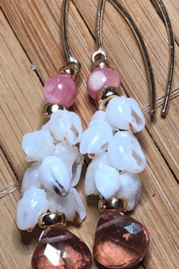 Ni'ihau Momi Shell with Rhodochrosite Beads