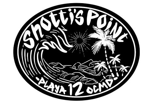 Shotti's Point Playa 12 Blk/Wht Sticker