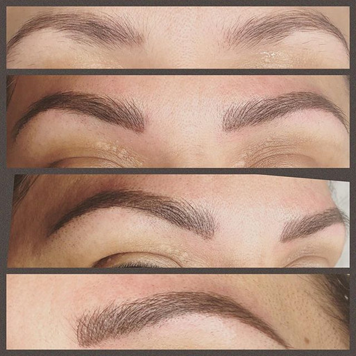 Hybrid eyebrows, means a combination of