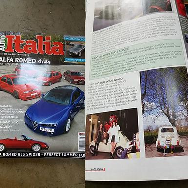 Fiat 500 Hire in Auto Italia Magazine