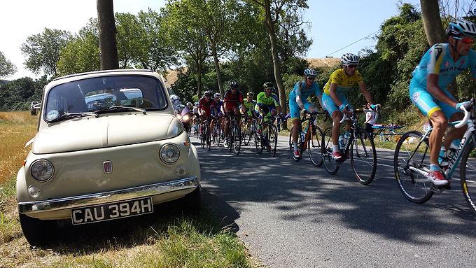 Fiat 500 At The Tour De France Cycle Race