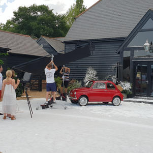 Bambino the Fiat 500 is in the Next Christmas photoshoot.