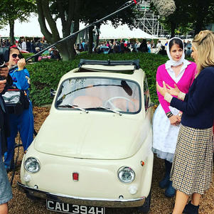 Sunny the Fiat 500 takes part at Goodwood Revival and stars on ITV4 show with presenter Nicki Shields.