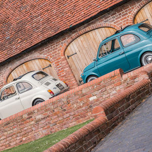 Two Fiat 500s feature on Oil and Gasoline with a photoshoot at Shelsley Walsh hill climb.