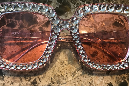 Pink Sunglasses With Rhinestone Frame
