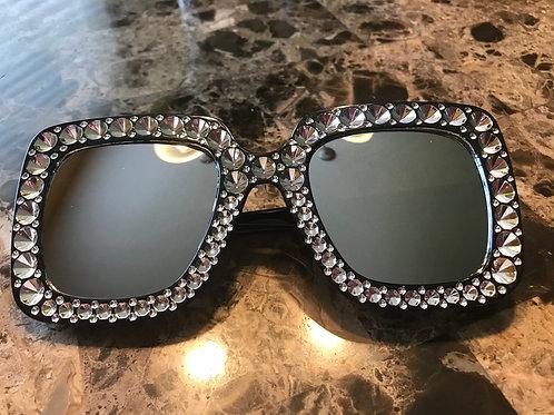 Black Mirror Rhinestone Sunglasses