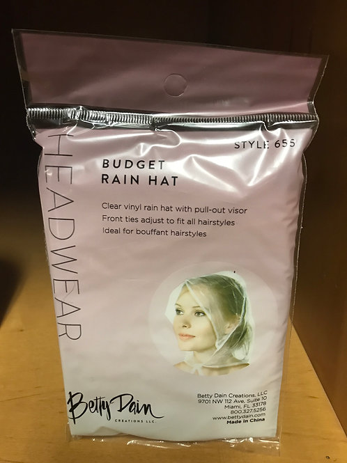 Clear vinyl rain cap with pull out visor