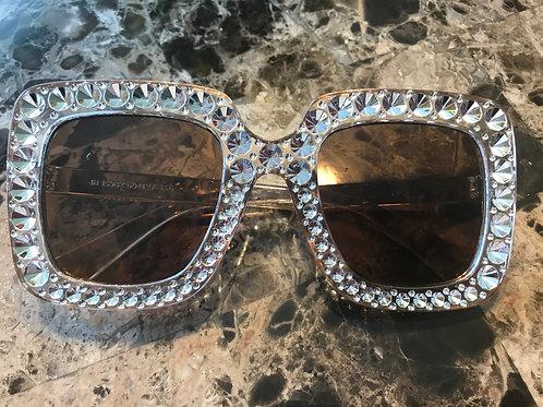 Brown Rhinestone Sunglasses