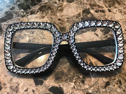 Black Frame Clear Sunglasses With Rhinestones