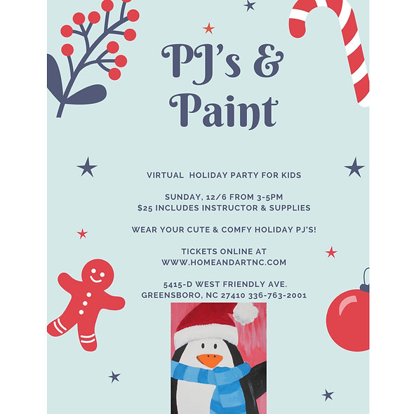 """""""PJ's & Paint"""" Virtual Holiday Party"""