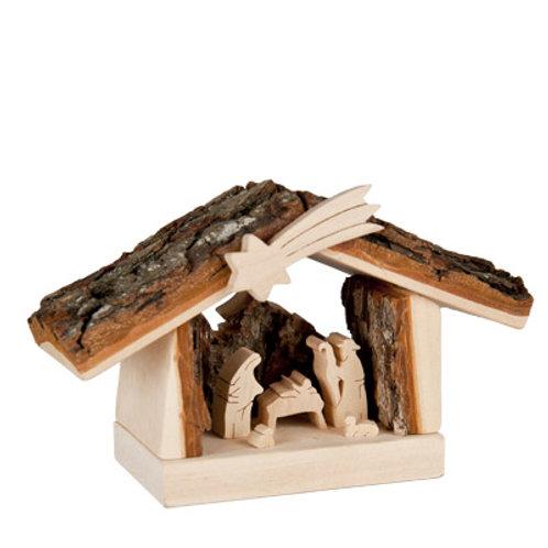 Nativity Scene Barn with Bark