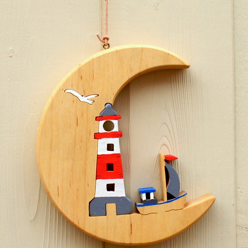 Crescent Moon with Lighthouse red