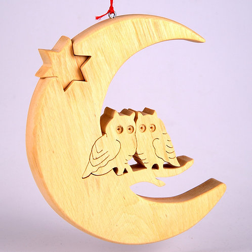 Crescent Moon with Owls