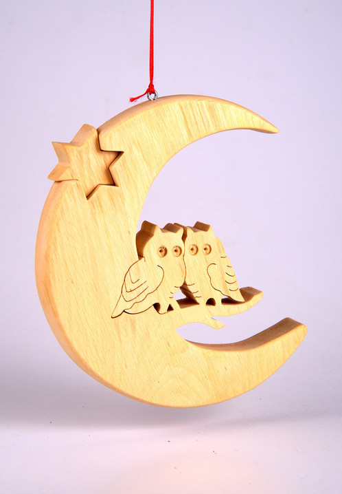 Crescent Moon With Owls Christmas Decorations Home And
