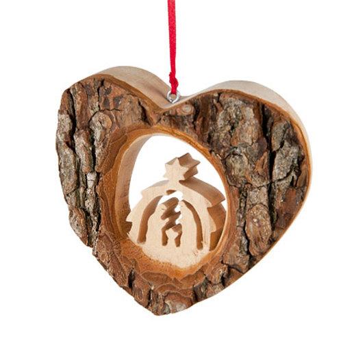 Bark Heart with Nativity Scene