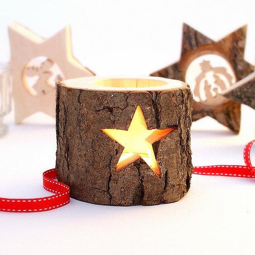 Christmas T-light Holder with Star/Bark