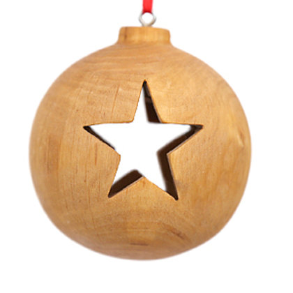 Wooden Bauble with Star