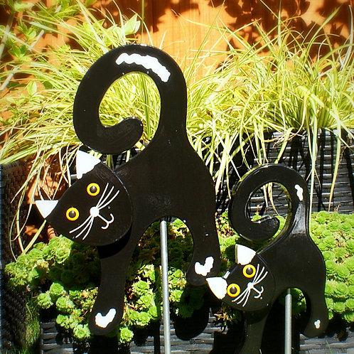 Cat 1 Black/White Ears Garden Ornament