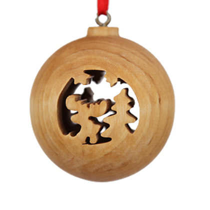 Wooden Bauble with Reindeer and Tree