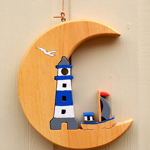 Crescent Moon with Lighthouse blue