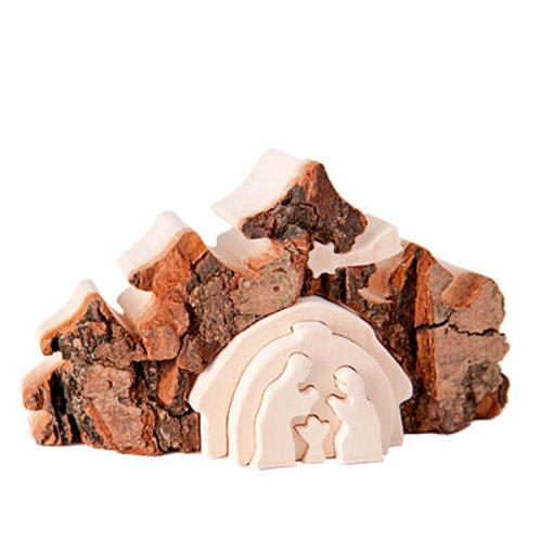 Wooden Nativity Scene in Bark