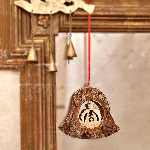 Bark Bell with Nativity Scene