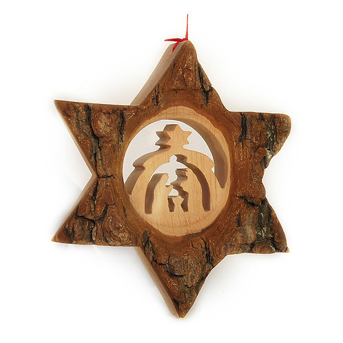 Bark Star with Nativity Scene