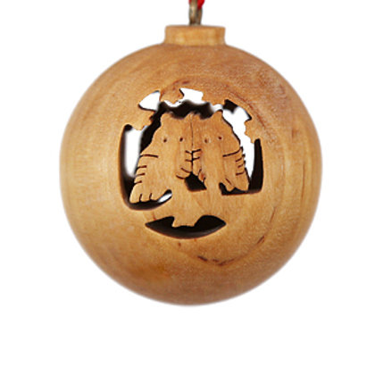 Wooden Bauble with Owls