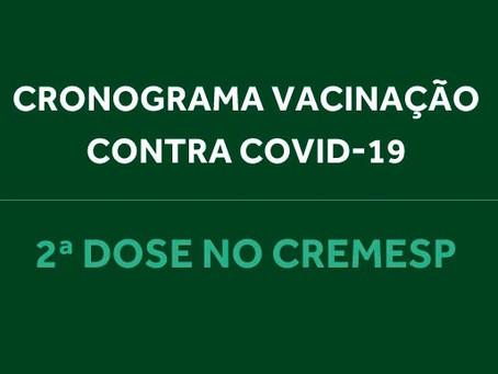 Médicos vacinados no Cremesp poderão comparecer à sede para aplicação da 2ª dose a partir do dia 2