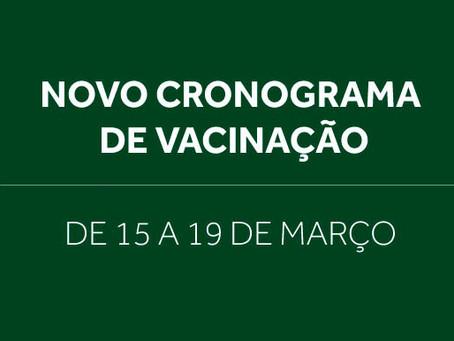 Confira o cronograma de vacinação contra covid-19 de 15 a 19 de março