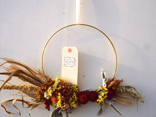"""10"""" Brass Ring Dried Floral Wreath"""