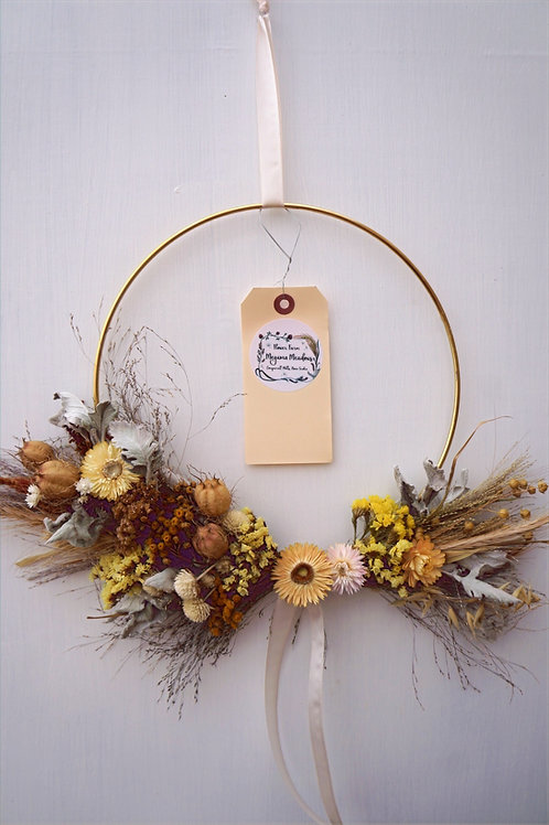 "10"" Brass Ring Dried Floral Wreath"