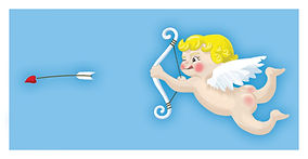 illustration of cupid firing a bow. photoshop illustration. childrens book illustration