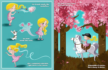 illustration of little blond girl. little girl with flowers and ribbons and candyfloss. little girl riding a pony