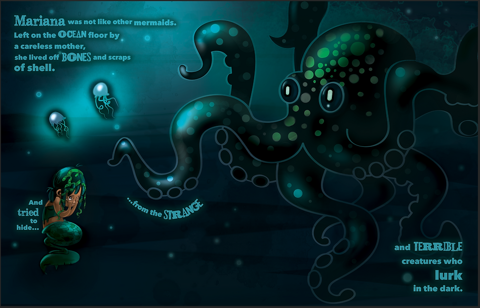 Mermaid in deep dark oceon with scary octopus and little deep sea creatures. Childrens' picture book illustration