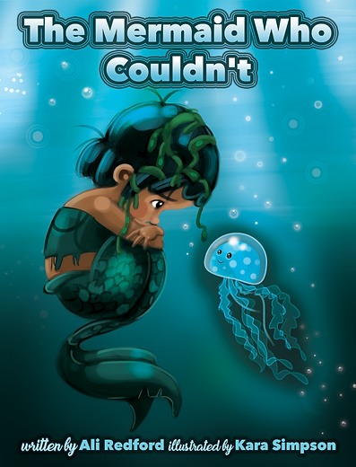 The mermaid who couldn't. Cover design. Mermaid and sea creature underwater. Childrens' picture book illustration