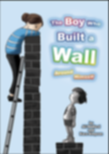 Lady leaning over a wall talking to a small boy. Cover design for a childrens' picture book. The boy who built a wall.