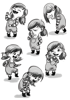 little girl character design. Little girl black and white drawings, jumping laughing, scowling. Childrens' picture book illustration