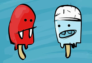 illustration of two ice lollies. vampire ice lolly. childrens book illustration. photoshop illustration