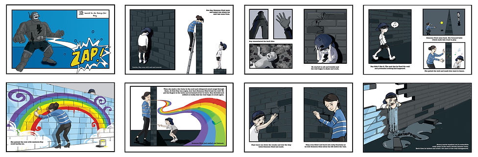 storyboard, the boy who built a wall