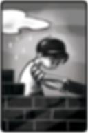 black an white illustration of a boy building a wall. Childrens book illustraiton. Photoshop illustratin