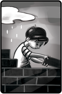 black an white illustration of a boy building a wall. Childrens book illustraiton. Photoshop illustratin