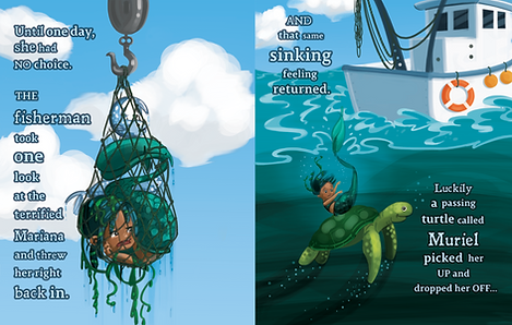 Mermaid caught in a net and being thrown back into the ocean. Childrens' picture book illustration.