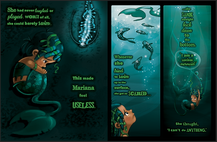 illustration of mermaid on ocean floor. mermaid underwater. mermaid sinking down to the bottom of the ocean. childrens book illustration. photoshop illustration