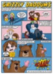 comic book strip of mum and daughter conversation about a dad being like a grizzly bear