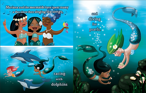 mermaids singing together. mermaids racing with dolphins and diving for pearls. Childrens' picture book illustration