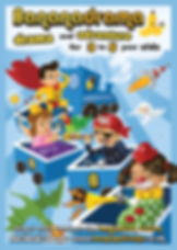 Poster design for preschool drama class. Children in dress up all aboard a train on its way to the imagination station