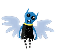 alien angel. Blue alien character