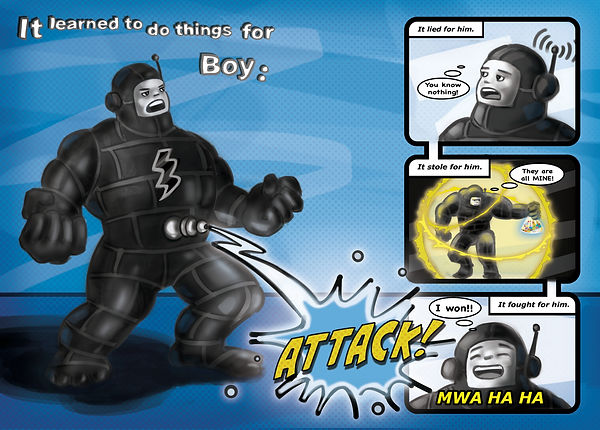 comic strip illustration. Young boy as a superhero with special powers. Childrens' picture book illustration. The Boy Who Built a Wall