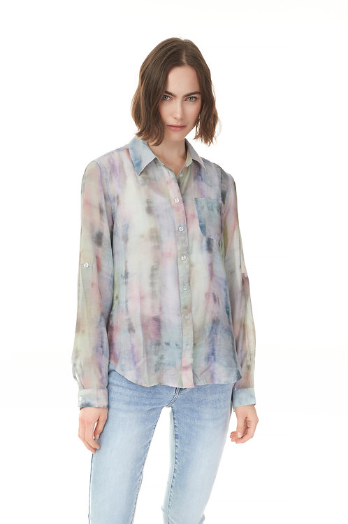 Printed Rayon Button Up Top